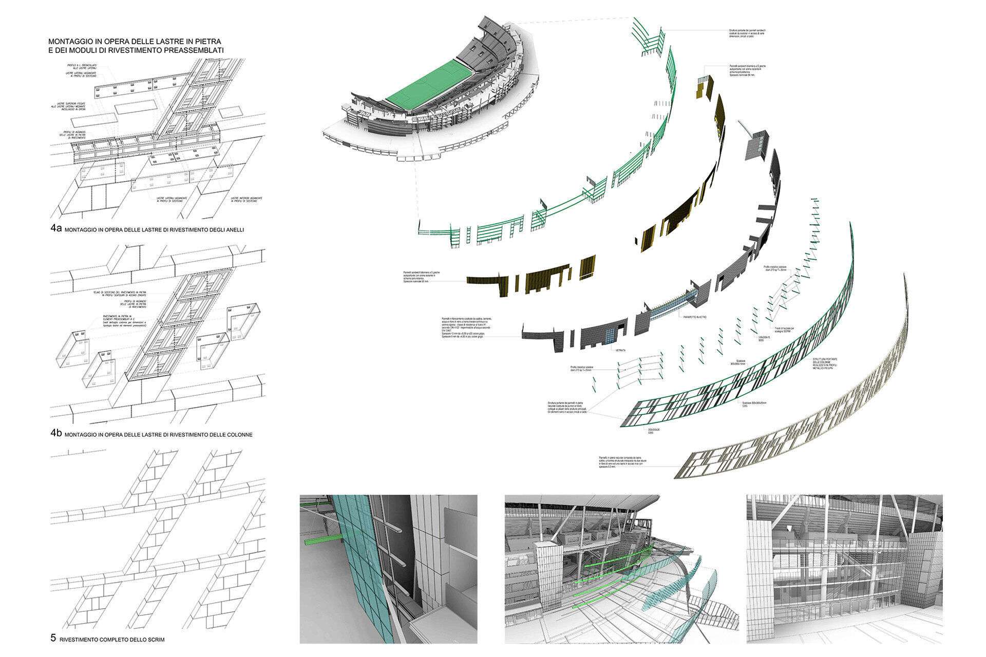Facade design engineering by SCE Project Stadio della Roma Dettagli