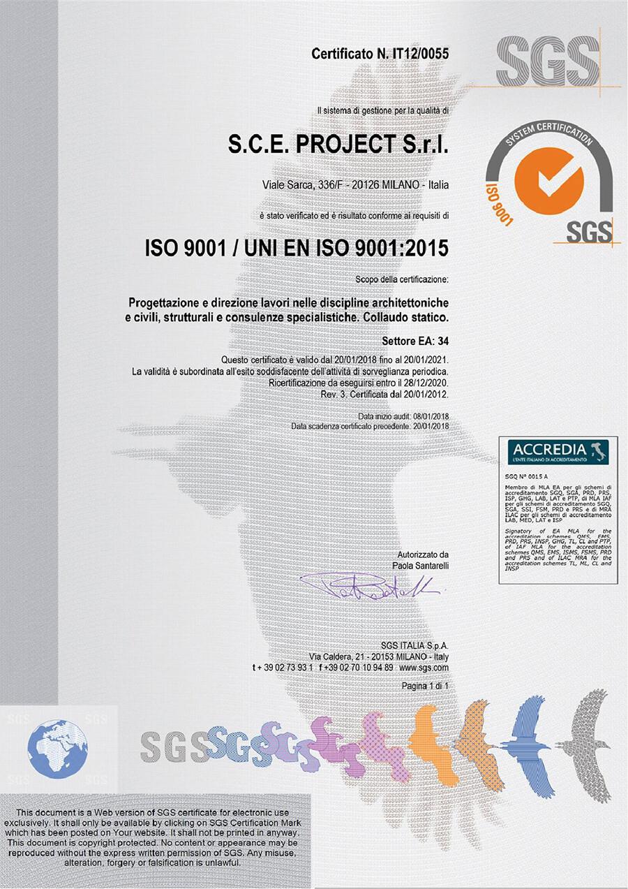 ISO 9001 QUALITÀ CERTIFICATA SCE PROJECT