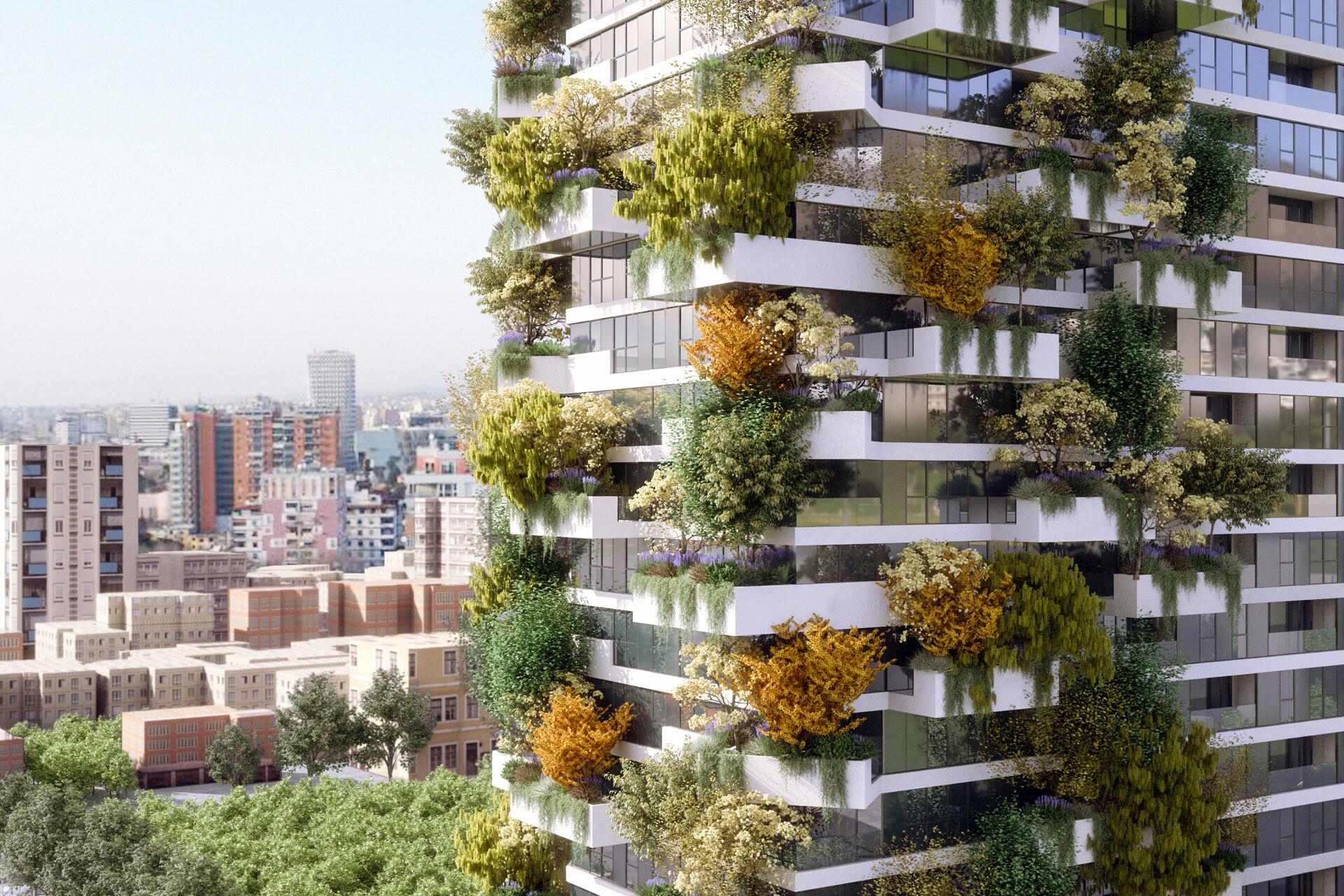Progettazione facciate Bosco VerticaleFacade Design Vertical Forrest Tirana