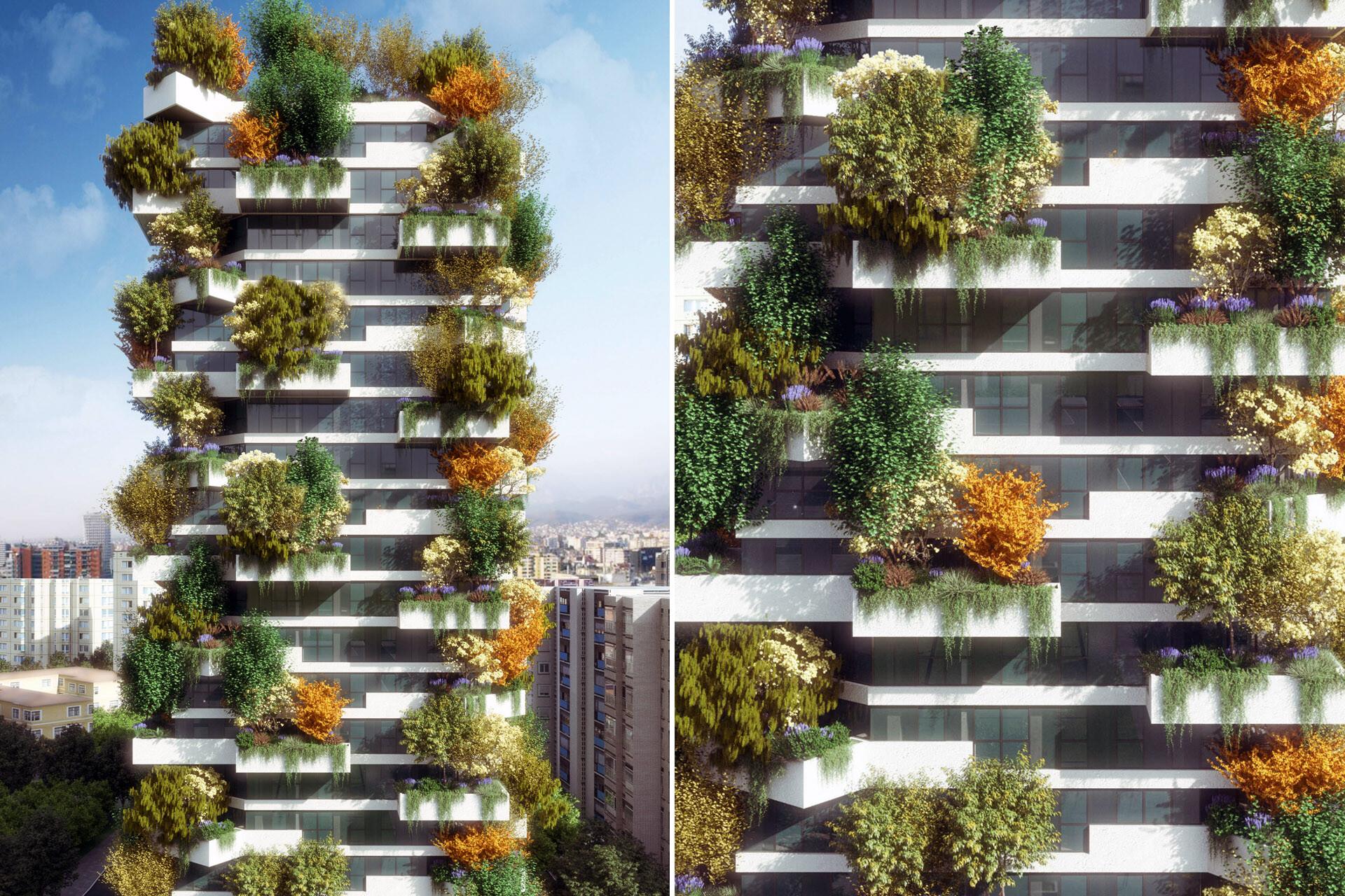 Facade Design Vertical Forrest Tirana
